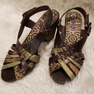 Indigo by Clarks, brown leather heels, sz7.5